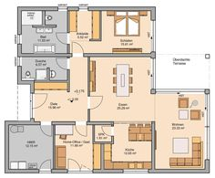 Grundriss Kern-Haus Bungalow Select House Construction Plan, Tree House Designs, Home Furnishing Stores, Bungalow House Design, Level Homes, New House Plans, Architect Design, Fixer Upper, Interior And Exterior