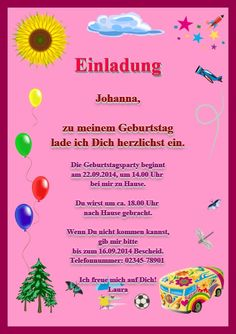 Einladungskarte Zum Geburtstag: Einladung Für Mädchen Und Jungen  (Kleinkinder). Vordefinierte Kartenvorlage: