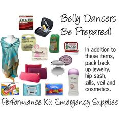 Belly Dancer's Performance Kit Emergency Supplies, created by davinadevine on Polyvore