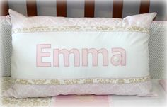 Personalized Name Scatter for baby Emma in old gold, blush pink & white. Design by: Tula-tu Baby Linen (South Africa). Baby Decor, Cot, Baby Room, Blush Pink, South Africa, Pink White, Bed Pillows, Pillow Cases, Nursery