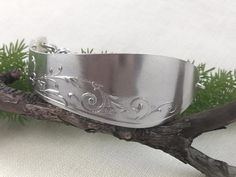 Spoon Bracelet Upcycled from Solid Silver Vintage  Knife. www.gemtationjewellery.etsy.com Spoon Bracelet, Bracelets, Serving Bowls, Upcycle, Tableware, Silver, Etsy, Vintage, Dinnerware