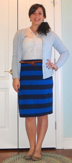 old navy striped skirt and polka dot button down, baby blue cardigan, studded flats