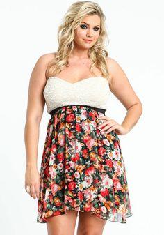 Plus Size Lace Floral Bustier Dress, BLACK/RED, large