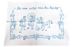 Hand embroidery on polish traditional tapestry used in kitchens, bathrooms and bedrooms. Traditional Tapestries, Polish Folk Art, Hand Embroidery, Bathrooms, Kitchens, Tapestry, Lace, Artist, Pattern