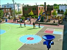 Before and After: Boston's Public School Playgrounds Outdoor Classroom, Outdoor School, Outdoor Learning, Outdoor Play, Outdoor Spaces, Playground Painting, Outdoor Basketball Court, School Site, Boston Public