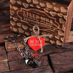 Custom Valentine's Double Heart Key Chains w/ Box - click/tap to personalize and buy