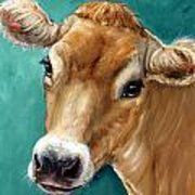 Jersey Cow Art Print, honey colored Jersey cow on teal background, dairy cow, Print of Original Painting by Dottie Dracos Cow Drawing, Cow Pictures, High Pictures, Holstein Cows, Teal Art, Pig Art, Farm Art, Cow Painting, Galo