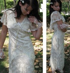 Sheer elegance Vintage lace wedding gown size by LuckyLeafShop, $200.00