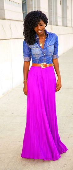 magenta maxi skirt + chambray top - stunning look for spring