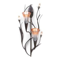Dawn Lily Double Candle Wall Sconce - Light your room with shimmering candlelight from this beautiful wall sconce. Two glass candle cups await the candles of your choice surrounded by metal leaves and three faceted flower buds. Rustic Wall Sconces, Bathroom Wall Sconces, Modern Wall Sconces, Candle Wall Sconces, Wall Sconce Lighting, Hall Lighting, Candle Cups, Glass Candle, Tea Light Candles