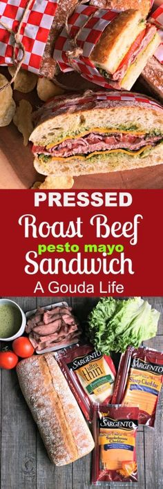 Pressed Roast Beer Sandwich with homemade pesto mayonnaise. NO panini press needed. Ideal for picnics, bridal/baby showers, outdoor concerts. Make ahead for best flavor. #ad #SargentoAtMeijer #IC
