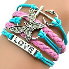 NEW PINK & BLUE WRAP BRACELET New pink & blue  wrap bracelet with butterfly, anchor, and love charm 4 Bidden Boutique Jewelry Bracelets