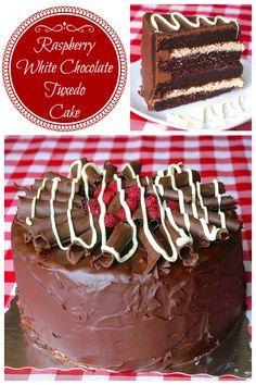 Raspberry White Chocolate Tuxedo Cake