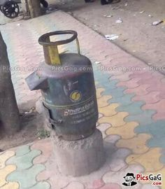 Gas Cylinder as Post Box Funny  [ More Funny Trick Indian Pictures: http://www.picsgag.com/funny-indian-pictures/ ]