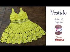 Vestido de Crochê Capixaba passo a passo Prof. Simone Eleotério - YouTube Crochet Bikini Pattern, Crochet Shorts, Crochet Clothes, Crochet Patterns, Cross Stitch Patterns, Crochet Summer Tops, Crochet For Kids, Crochet Top, Baby Dress