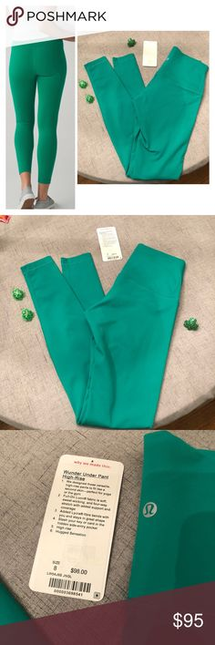 Lululemon Jungle Green High Rise Wunder Unders Like new, worn twice. Size 8, Wunder Under high rise pants. Color is best shown in the stock photo from the first picture, my camera doesn't capture it quite as green. Tag will come with but is not attached. No piling, no flaws. Will ship asap.  Happy to bundle, I will promptly answer any questions :) Follow me to see new items.   Clean, non smoking home. lululemon athletica Pants Leggings