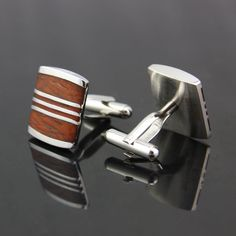 vintage stainless steel Wood Mens Wedding Party gift shirt cufflinks cuff links…