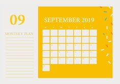 Latest September 2019 Cute Calendar