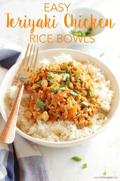 These Easy Teriyaki Chicken Rice Bowls make the perfect weeknight meal - on the table in 15 minutes! Recipe from thebusybaker.ca!