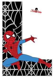 Spider Man Party, Superhero Birthday Party, Boy Birthday, Spiderman Invitation, Scrapbook Letters, Letter Art, Alphabet Letters, Mickey Minnie Mouse, Letters And Numbers