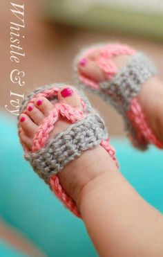 Crocheted baby flip flops..♡♡
