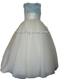 Tiffany Blue ballerina style FLOWER GIRL DRESSES with layers and layers of tulle by Pegeen.com in over 200+ colors of silk, with or without sleeves, infants through plus size