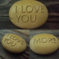 I love you more. Double sided engraved stone. by SeaStoneFrog