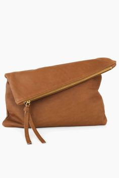 Oversized Leather Fold Clutch in a rich camel color