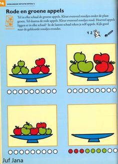 Werkblad Doremi - appels tellen Restaurant, Crafts For Kids, Preschool, Math, Vegetables, Learning, Healthy, Food, Apples