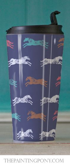 Horse Lover Travel Tumbler - for the equestrian for on the go coffee or tea on all those early horse show mornings! Colorful galloping horses pattern - great for the hunter jumper, dressage, equitation, or cowgirl style rodeo barrel racing horseback rider.