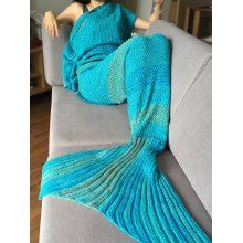 Stylish Colorful Stripe Pattern Mermaid Tail Shape Blanket For Adult