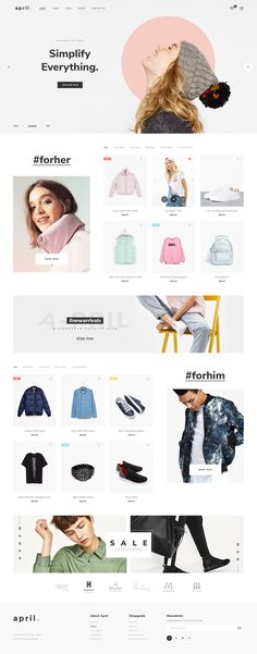 April – Ecommerce PSD Template April is evaluated as my most unique ecommerce PSD template for shop online with clean and modern design. 36 PSD files included – The design is very easy to wor. Website Design Inspiration, Fashion Website Design, Website Design Layout, Design Blog, Web Layout, Design Studio, Layout Design, Design Design, Creative Web Design