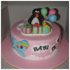 A fondant birthday cake with Pingu and my little phone-rainbow dash theme cake for Hani's 4th birthday.For orders or enquiries,please email us at mail@myvanillapod.com