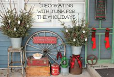 Decorating The Outdoors For Christmas with Junk via OrganizedClutter.net