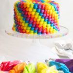 Rainbow Birthday Cake | An impressive rainbow frosted cake that is perfect for any anniversary, birthday or special occasion. A classic vanilla cake recipe is finished off with multi-color buttercream frosting!