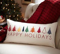 Happy Holidays Lumbar Pillow Cover