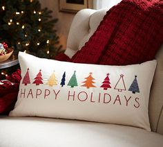 Happy Holidays Embroidered Lumbar Pillow Cover
