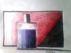 Perfume, caneta esferográfica azul, preto e vermelho