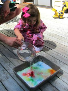 color surprise: dot tray with food coloring/paint, cover with baking soda, squirt with vinegar for bubbling over color explosions