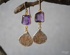 Amethyst & Drusy Earrings Perfect Gift for Mothers Day by ATELIERGabyMarcos, $159.00