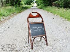 Wooden Sidewalk Chalkboard - Repurposed Antique Folding Chair by Knick of Time @ KnickofTime.net