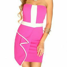 Pink tube top dress Pink tube top dress with white stripe on top nice soft fabric. Brand new never used. Can also fit a size S. Dresses Mini