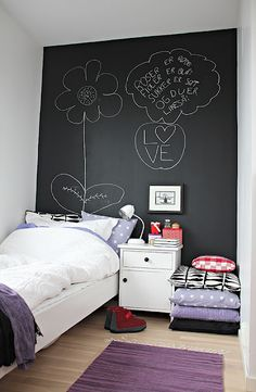 I think this is a great idea. As a child grows, their interests change so it's a hassle to redecorate their room every.single.TIME! With the chalk board, you (or even they) can erase it and put whatever is applicable to the current phase of their life. :)