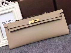 Limited Condition!Hermes Original Epsom Leather Kelly Cut Clutch Bag grey 2016