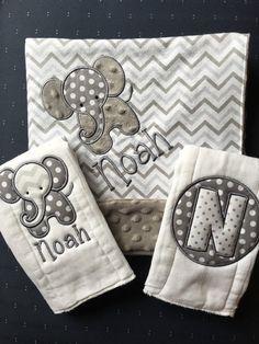 e2f6a0fd7482ba Elephant Baby Blanket Elephant Burp Cloth Set