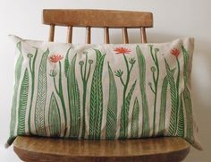 Oh my goodness, I like these lino print cushions!