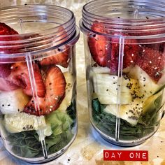 Day one- strawberry, pineapple, spinach, chia. Last time I did this cleanse I went bonkers and made 5 different smoothie combos a day. This time around I'm the busiest person alive, so I'm going to make one big batch of a combo each day. Today I kept it tangy and simple. The chia seeds help with the cleansing process as well as help me stay full (they absorb 10 times their weight in water). All the info will be posted on my website blog later tonight (I have A LOT of shit to add and update…
