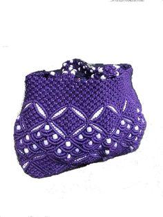 Volta Authentic African Ghana Hand-Woven w/Handmade Bead Detail Handbag Lavender/White