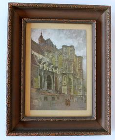 "framed vintage 1914 print of ""Louvain Cathedral"" in Belgium by Dutch artist Willem Leendert Bruckman, framed by one-time Sierra Club pres.. $24.00, via Etsy."
