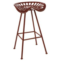 Bring a rustic touch to your kitchen island or patio pub table with this indoor/outdoor iron barstool, featuring a cherry red finish and tractor-inspired sea...
